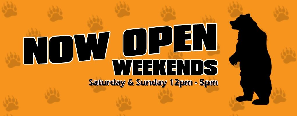 We're now OPEN Weekends 12 Noon – 5 PM for Tasting